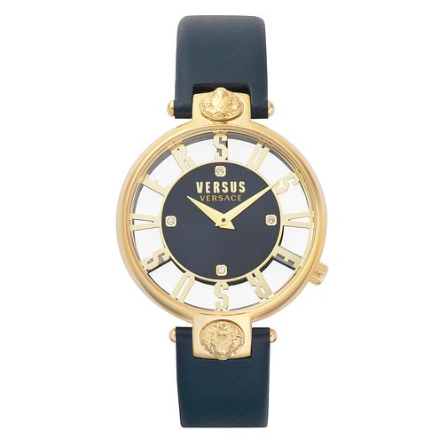 Versus Versace Kirstenhof Ladies' Blue Leather Strap Watch - Product number 8049939