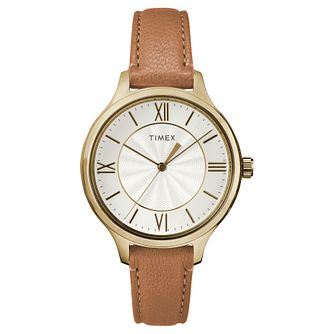 Timex Ladies' Silver Dial Brown Leather Strap Watch - Product number 8050716