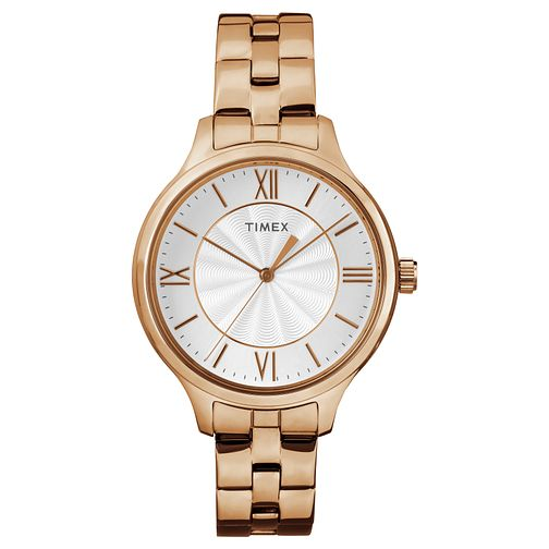 Timex Ladies' Rose Gold Tone Stainless Steel Bracelet Watch - Product number 8050724