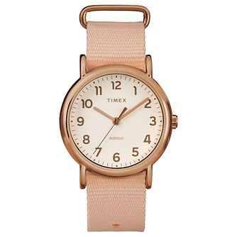 Timex Weekender Ladies' Pink Nylon Strap Watch - Product number 8050791