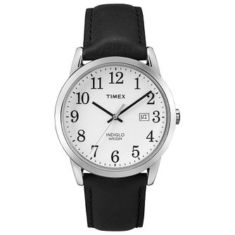 Timex Men's Easy Reader White Dial Black Leather Strap Watch - Product number 8052646