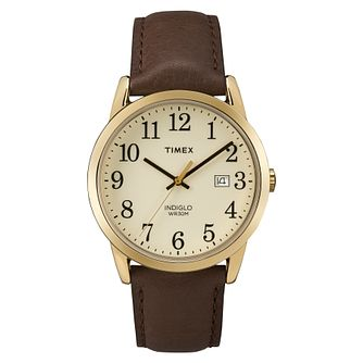 Timex Men's Easy Reader Brown Leather Strap Watch - Product number 8052654