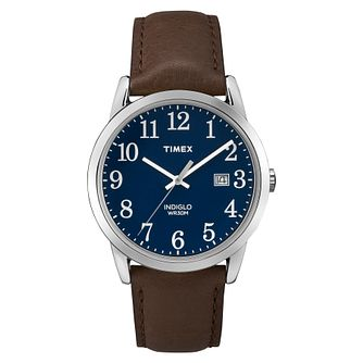 Timex Men's Easy Reader Blue Dial Brown Leather Strap Watch - Product number 8053529