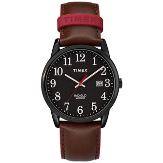 Timex Men's Easy Reader Black Dial Brown Leather Strap Watch - Product number 8054371