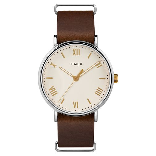 Timex Southview Men's Cream Dial Brown Leather Strap Watch - Product number 8056684