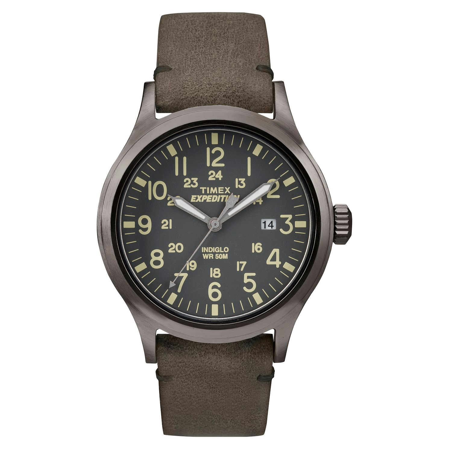 Timex Expedition Men's Grey Dial Brown Leather Strap Watch - Product number 8057702
