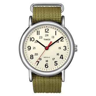 Timex Weekender Men's Cream Dial Green Nylon Strap Watch - Product number 8057745