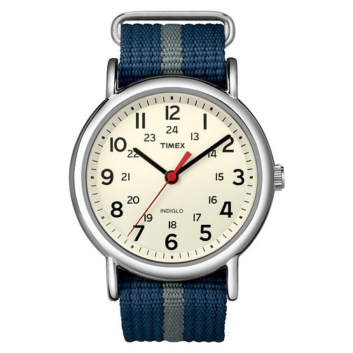 Timex Weekender Men's Cream Dial Blue Nylon Strap Watch - Product number 8057753