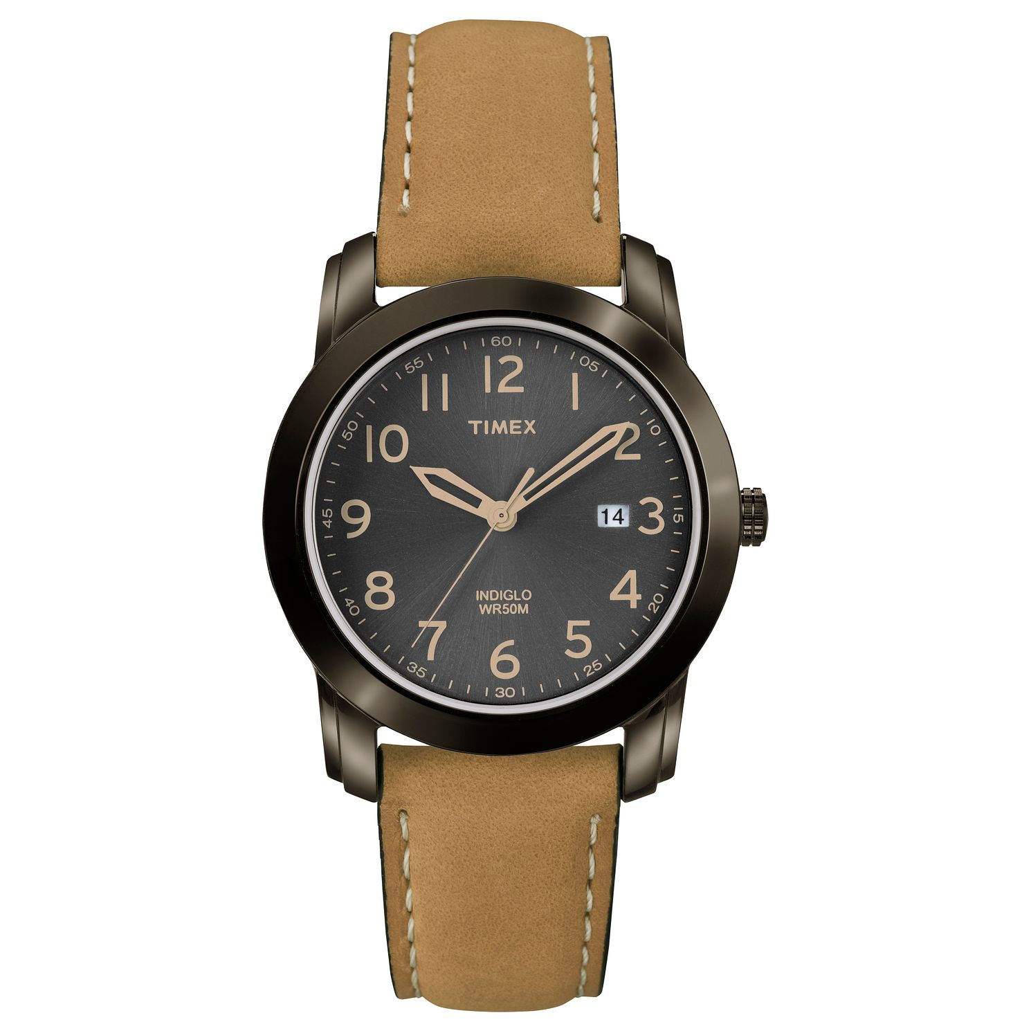 Timex Men's Black Dial Tan Leather Strap Watch - Product number 8057796