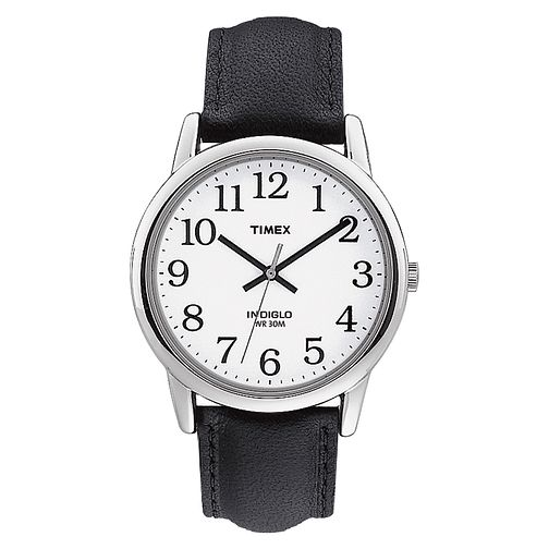 Timex Men's Easy Reader White Dial Black Leather Strap Watch - Product number 8057818