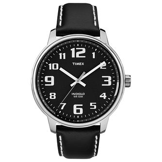 Timex Men's Easy Reader Black Dial Black Leather Strap Watch - Product number 8057826