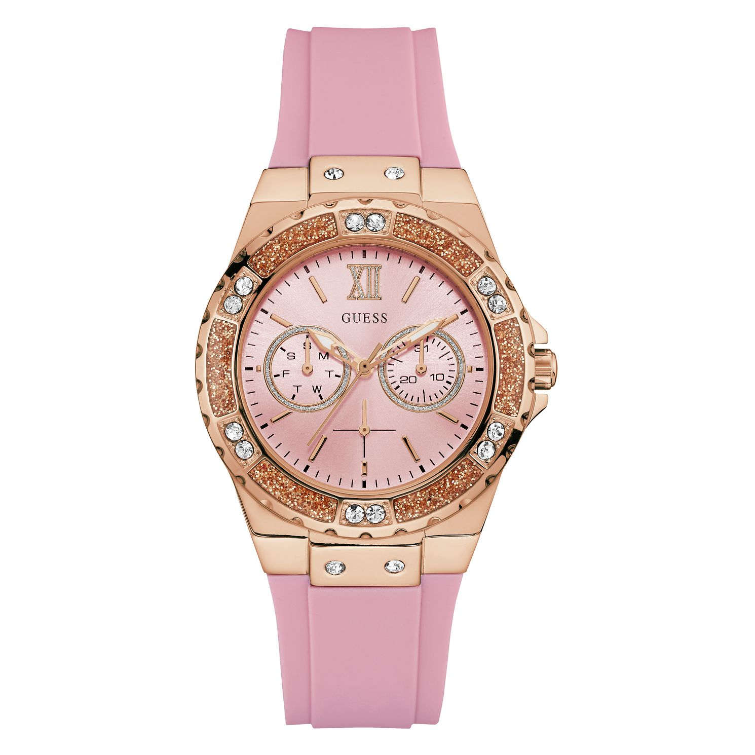 Guess Ladies' Pink Silicone Strap Watch - Product number 8059322