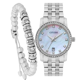 Citizen Ladies' Stainless Steel Watch & Bracelet Set - Product number 8063893