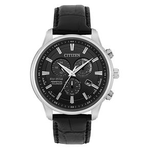 Citizen Men's Eco-Drive Black Leather Strap Watch - Product number 8063966