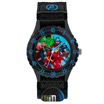 Disney Avengers Black Fabric Strap Time Teacher Watch - Product number 8067678
