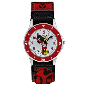 Disney Mickey Mouse Red Patterned Strap Time Teacher Watch - Product number 8068143