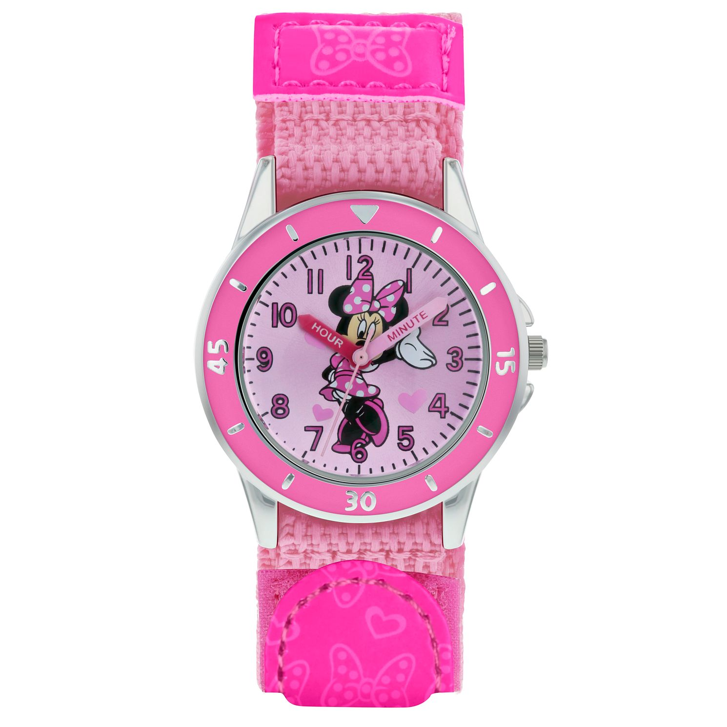 Disney Minnie Mouse Pink Patterned Strap Time Teacher Watch - Product number 8068186