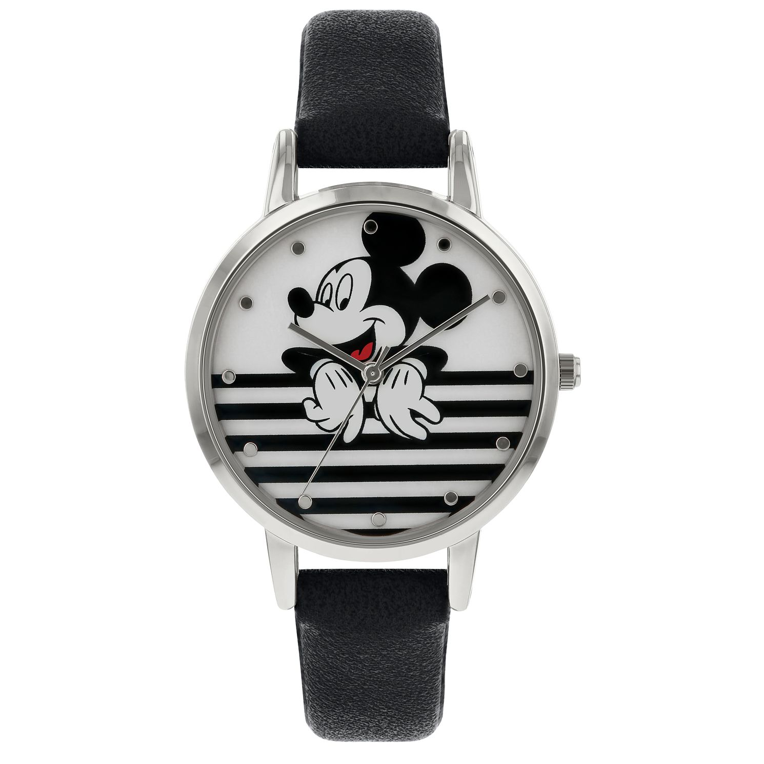 Disney Mickey Mouse Adults' Black Leather Strap Watch - Product number 8068283