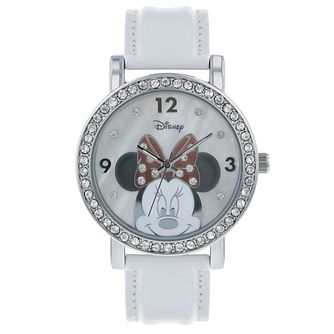 Disney Minnie Mouse Adults' White Leather Strap Watch - Product number 8068291