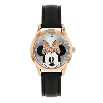 Disney Minnie Mouse Adults' Black PU Strap Watch - Product number 8068305