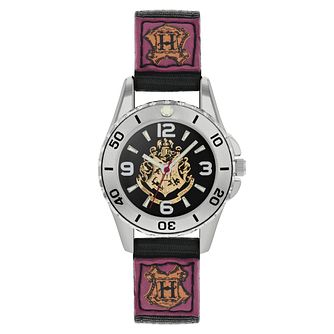 Harry Potter Hogwarts Houses Black Fabric Strap Watch - Product number 8068313