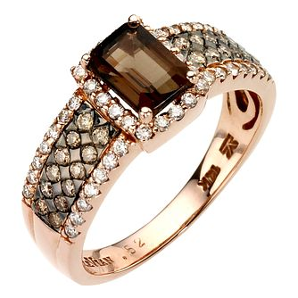 Le Vian 14CT Strawberry Gold 0.50CT Diamond & Quartz Ring - Product number 8068550
