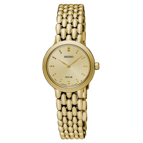 Seiko Solar Ladies' Gold Plated Bracelet Watch - Product number 8070385