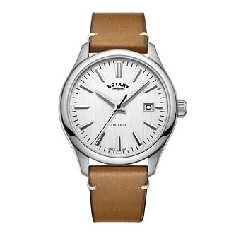 Rotary Oxford Men's Brown Leather Strap Watch - Product number 8070458