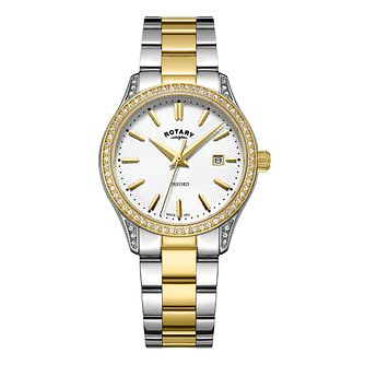 Rotary Oxford Ladies' Two Colour Stone Set Bracelet Watch - Product number 8070474