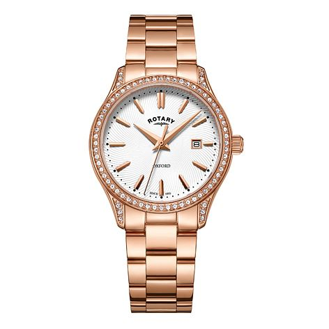 Rotary Oxford Ladies' Rose Gold Plated Stone Set Watch - Product number 8070482