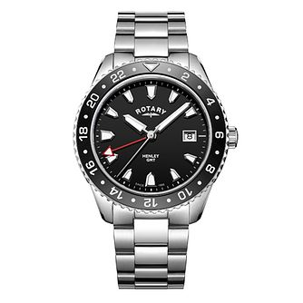 Rotary Henley Men's Stainless Steel Black Dial Watch - Product number 8070490