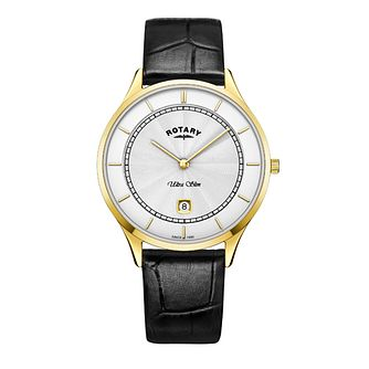Rotary Ultraslim Men's Yellow Gold Plated Strap Watch - Product number 8070601