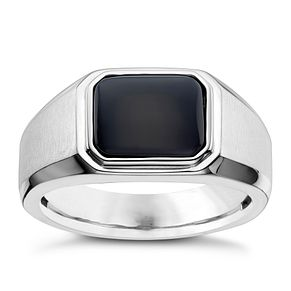 Silver Rectangle Onyx Ring - Product number 8073562