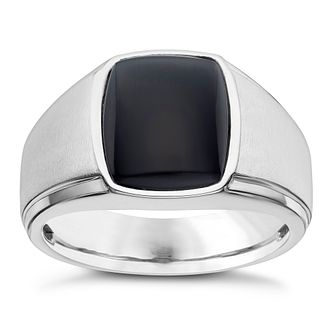 Silver Rectangle Onyx Ring - Product number 8073724