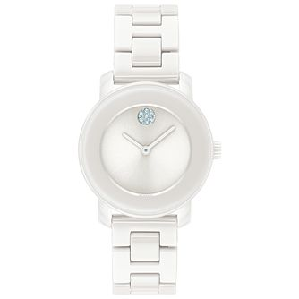 Movado BOLD Crystal Ladies' White Ceramic Bracelet Watch - Product number 8075328