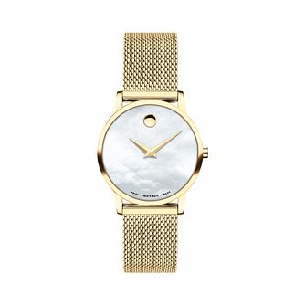 Movado Museum Classic Diamond Gold Tone Mesh Bracelet Watch - Product number 8075387