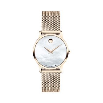 Movado Museum Classic Diamond Gold Tone Mesh Bracelet Watch - Product number 8075395