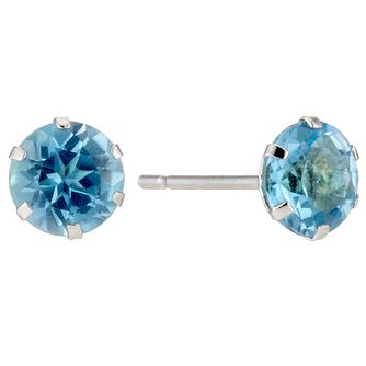 9ct White Gold Blue Topaz 5mm Stud Earrings - Product number 8076189