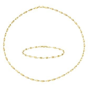 9ct Yellow Gold Herringbone Necklace & Bracelet Set - Product number 8078068