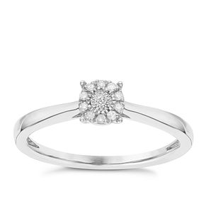 Sterling Silver Diamond Cluster Ring - Product number 8078777