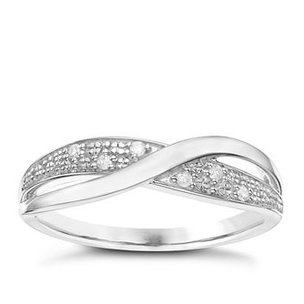 Sterling Silver Diamond Cross Over Eternity Ring - Product number 8079684