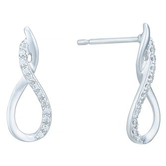 9 Carat White Gold Diamond Twist Earrings - Product number 8079862