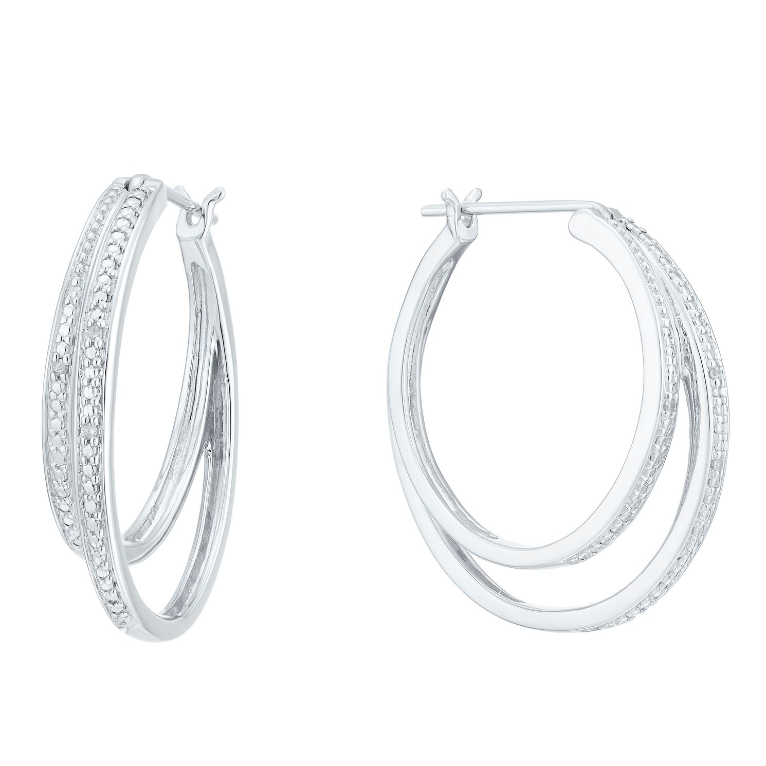 Sterling Silver Double Hoop Diamond Earrings - Product number 8079870