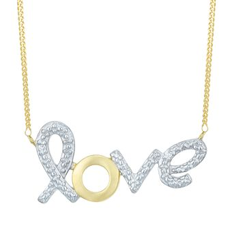 9 Carat Yellow Gold Diamond Love Pendant - Product number 8079900