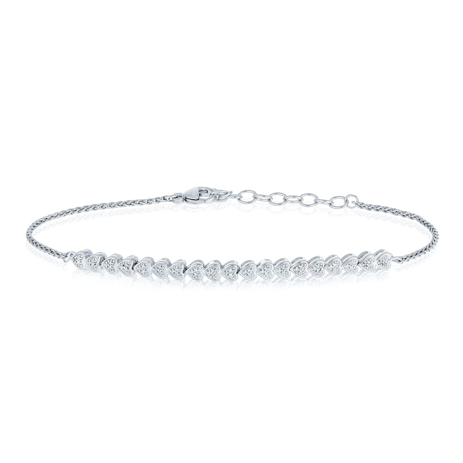 Sterling Silver Diamond Heart Bracelet - Product number 8080151