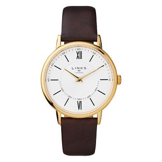 Links of London Noble Men's Gold Plated Brown Strap Watch - Product number 8080801