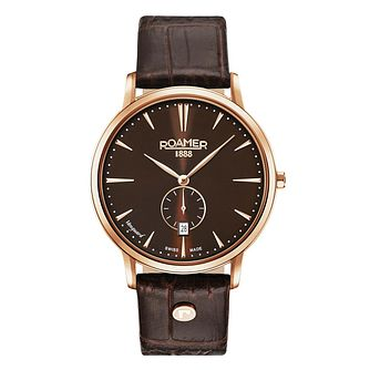 Roamer Vanguard Slim Line Men's Brown Leather Strap Watch - Product number 8081271