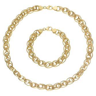 9ct Yellow Gold Link Chain Necklace & Bracelet Set - Product number 8081387