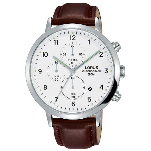 Lorus Men's Brown Leather Strap Chronograph Watch - Product number 8081476