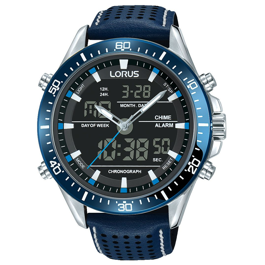 Lorus Men's Analogue & Digital Blue Leather Strap Watch - Product number 8081492